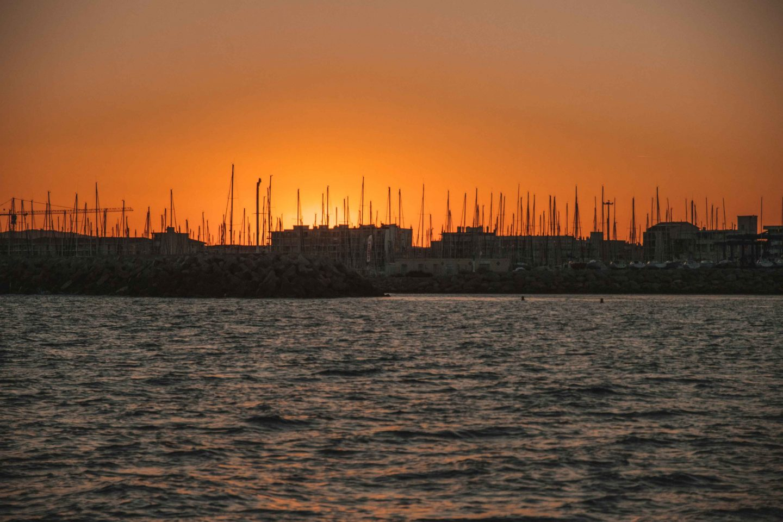 coucher de soleil sur le port de Sète